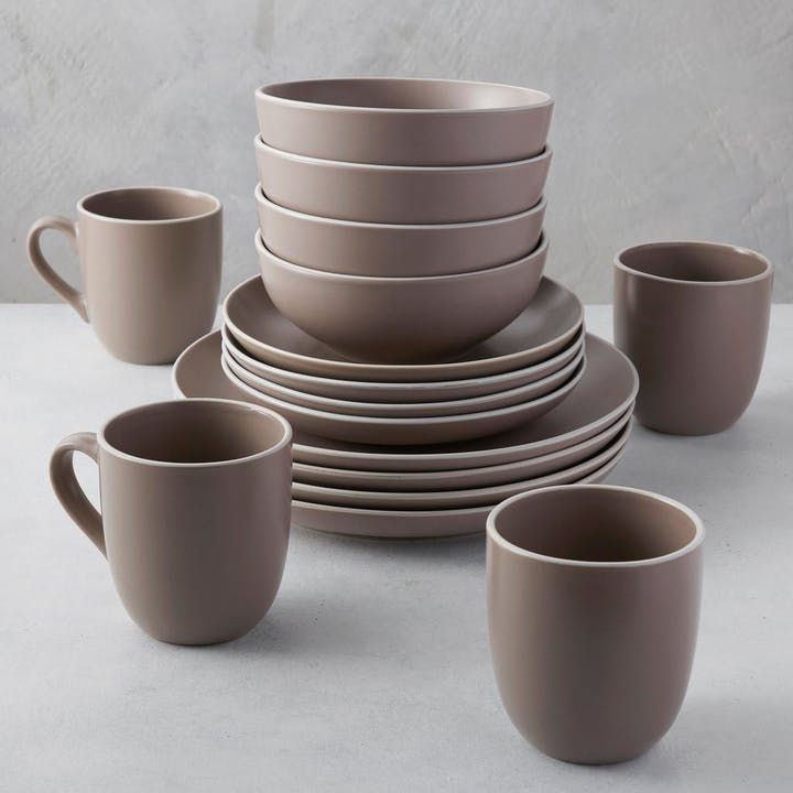 Kisco Taupe Stoneware 16 piece set