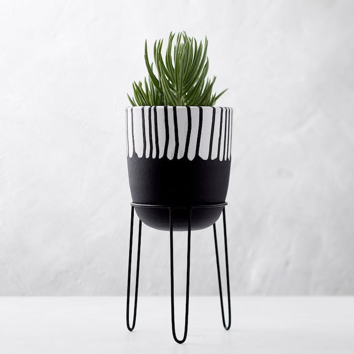 Artisan Terracotta Planter - Black Drip