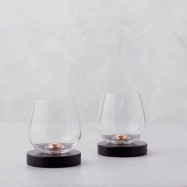 Aerating Wine Glasses with Coasters - Set of 2